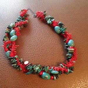 Necklace made from turquoise and coral